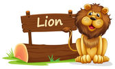 A lion near a wooden signage — Stock Vector