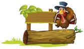 A turkey above a trunk beside an empty signboard — Stock Vector