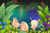 Three wild animals playing in the garden — Stock Vector