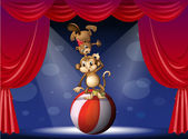 A beaver and a monkey perfoming on the stage — Stock Vector