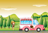 A pink ice cream bus and the little girl — Stock Vector