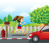 A girl jogging in the street — Stock Vector