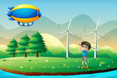A boy playing golf in the field with windmills — Stock Vector