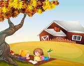 Kids reading under a big tree — Stock Vector