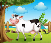 A cow in the backyard — Stock Vector