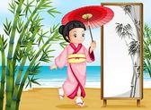 A girl in a kimono attire — Stock Vector