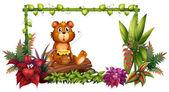 A bear above a trunk in the garden — Stock Vector