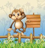 A monkey standing in a fence beside an empty board — Stock Vector