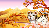 An autumn view with a tiger — Stock Vector