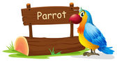 A colorful bird near a signboard — Stock Vector
