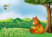 A bear sitting near a tree — Stock Vector