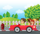 A young gentlemen driving a car with two ladies at the back — Stock Vector