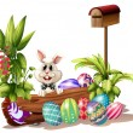 The easter bunny near the mailbox — Stock Vector #20333873
