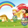 A bunny and kids with easter eggs - Stockvectorbeeld