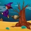 A witch riding a broom — Stock Vector