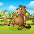 A beaver running inside a fence — Stock Vector