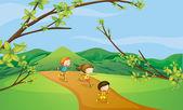 在山上玩耍的孩子们 — 图库矢量图片