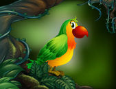 A parrot at the rain forest — Vector de stock