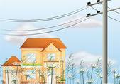 A big house near an electrical post — Stock Vector