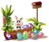 The easter bunny near the mailbox — Stock Vector