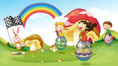 A bunny and kids with easter eggs — Stock Vector