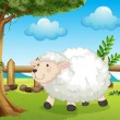 A sheep inside the fence - Stock Vector