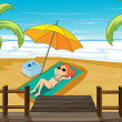 A girl sunbathing at the shore — Stock Vector #20714085