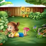 A little girl watching a butterfly — Stock Vector