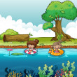 Two girls at the river — Stock Vector