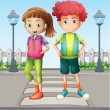 Kids at the pedestrian lane — Stock Vector #20716771