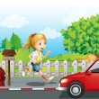 Stock Vector: Girl running along road