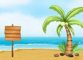 Un árbol de coco y un tablero vacío en la playa — Vector de stock