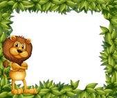 A lion at the left side of a leafy frame — Stock Vector