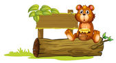 A bear sitting on a trunk — Stock Vector