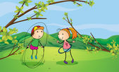 A boy and a girl playing in the hills — Stock Vector