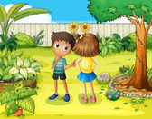 A boy and a girl arguing in the garden — Stock Vector