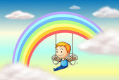 An angel near the rainbow — Vector de stock