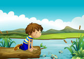A young boy watching the fishes — Stock Vector