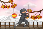A ninja with a sword — Vector de stock