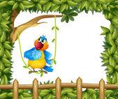 Barevný papoušek pod velkým stromem — Stock vektor