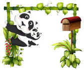 A mother panda together with her baby — Stock Vector