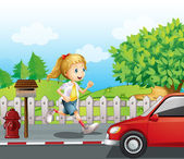A girl running along the road — Stock Vector