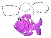 A purple fish with empty callouts — Stock Vector