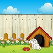 A dog and the dog house inside the fence — Stock Vector
