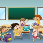Happy students inside a classroom — Stock Vector