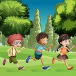 Children running at the park — Stock Vector #20806085