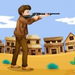 A gunman in the neighborhood - Stock Vector