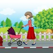 A lady with a red skirt pushing a stroller - Stock Vector