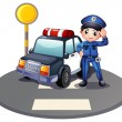 A patrol car and the policeman near the traffic light — Stock Vector