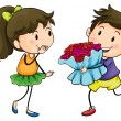 Stock Vector: Boy giving his girlfriend bouquet of flowers